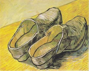 painting of a pair of wooden shoes by Van Gogh