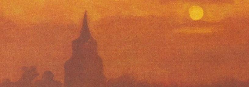 detail of Van Gogh painting of old bell tower