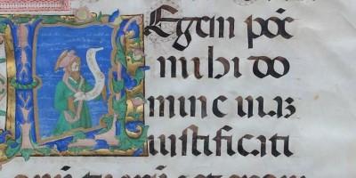 a manuscript illumination depicting psalmist