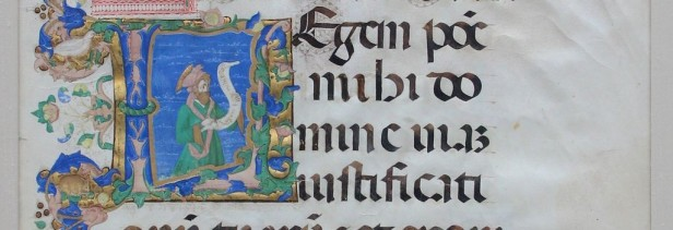 a manuscript illumination depicting psalmist