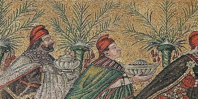 mosaic of three magi bearing gifts following star with palms
