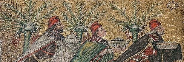 mosaic of three magi bearing gifts following star with palms