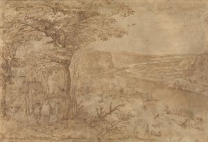 Sepia line drawing, pilgrims walking on a road by a river