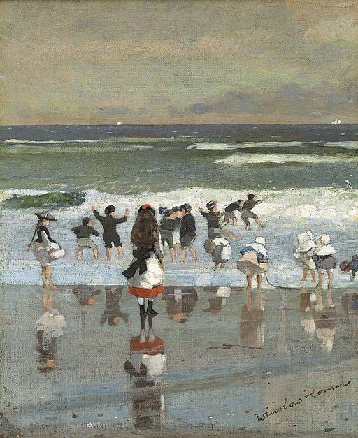 children playing at the beach painted by Winslow Homer