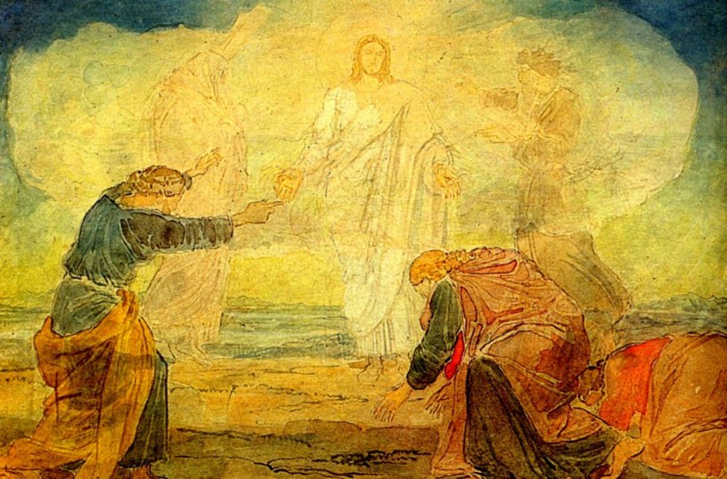painting of the scene of the Transifiguration, showing Jesus, Moses, Elijah, and two disciples