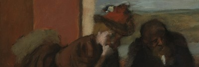 painting by Degas of a woman with a hat and a man in conversation
