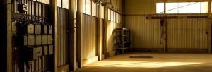 shaft of sunlight in an empty unused workshop