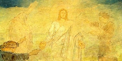 detail Transfiguration by Alexander Ivanov showing Christ with Moses, Elijah, disciple