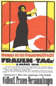 1914 poster for International Women's Day - woman holding large red flag - headline heraus mit dem Frauenwahlrecht