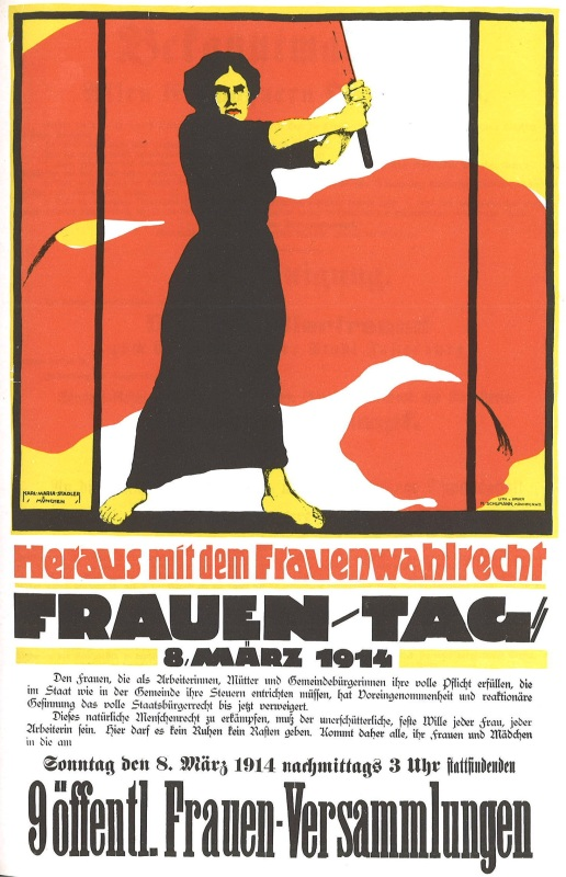 1914 poster for International Women's Day - woman holding large red flag - headline heraus mit dem Frauenwahlrecht