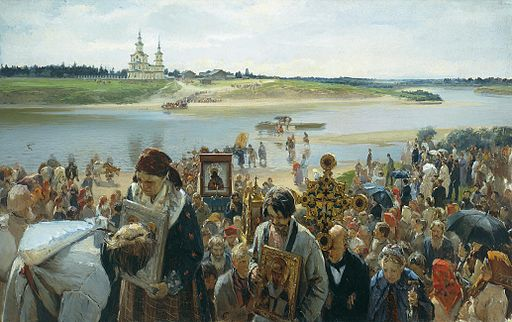 painting of Russian Orthodox Easter procession
