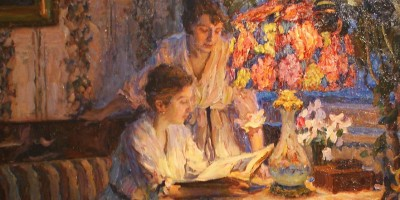 two woman look at a book in an impressionist painting