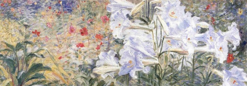 painting of Easter lilies in a garden