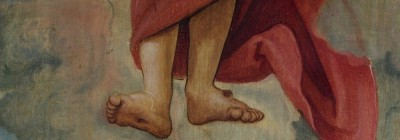 ascending feet - of Jesus - in clouds and red garment