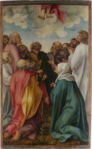 assembled apostles watching Jesus' disappearing feet