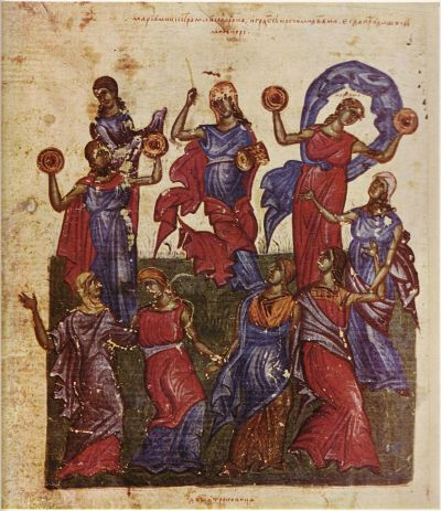 women dressed in red and blue holding tambourines and dancing drawn in iconic style