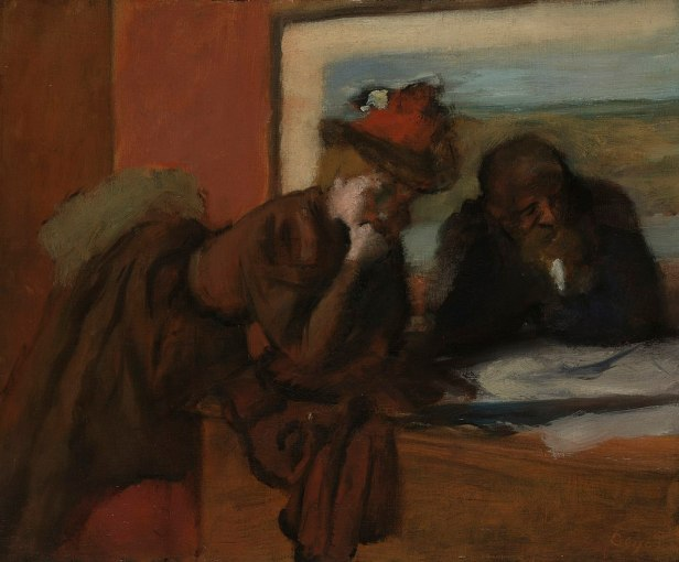 Degas painting of woman in red hat and man in conversationg over papers on a table