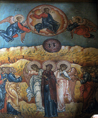 Jesus with angels, Mary, apostles in iconic style