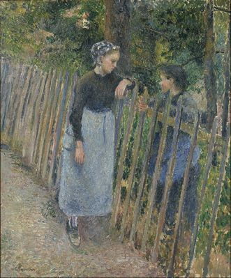 two young women conversing over a picket fence