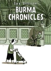 Book cover shows DeLisle pushing a stroller past a military checkpoint