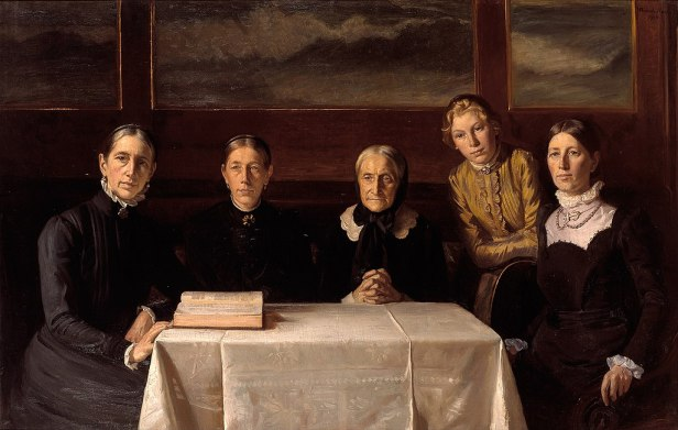 5 serious-looking women seated around a table with an open Bible