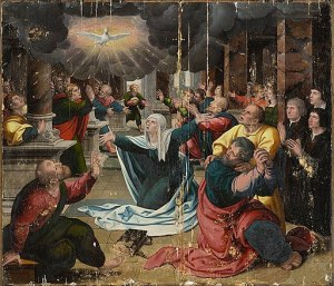 A painting of the scene of Pentecost showing dove, rays, disciples including a woman, perhaps Mary, in dramatic poses