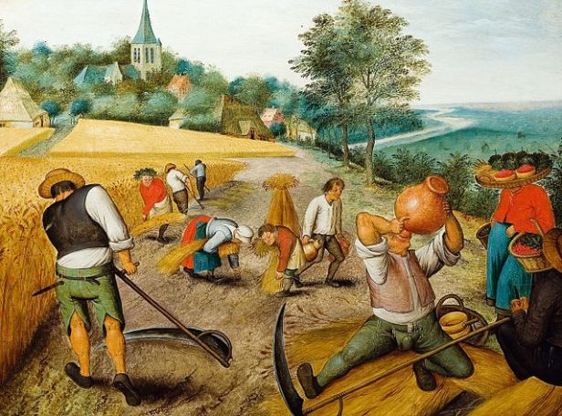 Flemish Baroque peasants doing summer work in a field with a church in the background