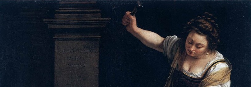 Woman in baroque dress with arm raised holding a hammer
