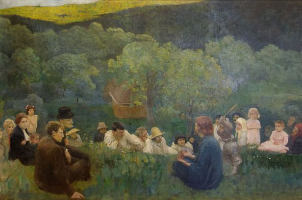 painting of Jesus teaching a group of people seated on grass