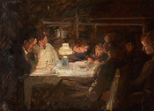 impressionistic view of family members around a table lit by an oil lamp