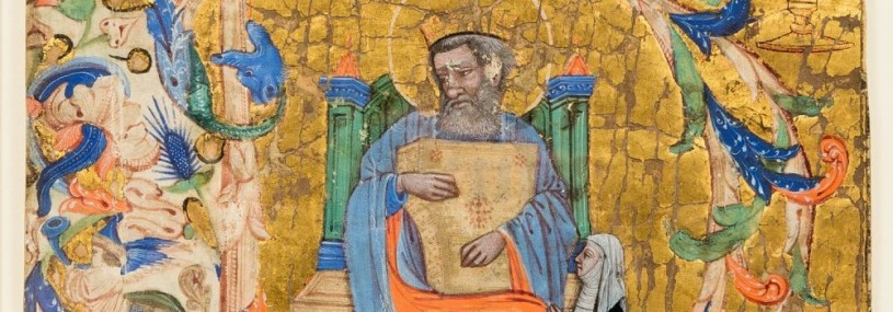 illumination of King David playing a psaltery