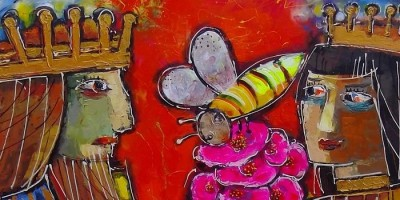 painting of king, queen, and large bee on pink flowers