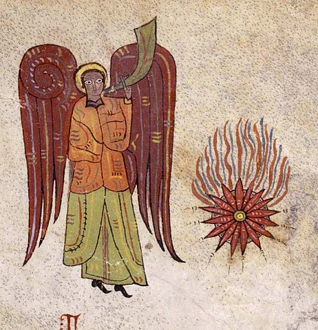 angel with trumpet and star falling to earth