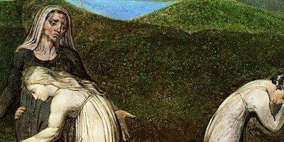 painted image of Ruth clinging to saintly Naomi, as Orpah weeps and leaves