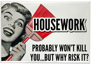 refrigerator magnet says Housework probably won't kill you ... but why risk it?