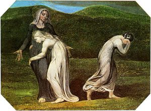An image of saintly Naomi with Ruth and Orpah