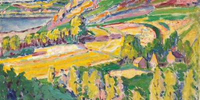 expressionist landscape of mountains, farm, and trees