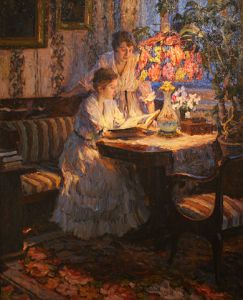 two women in antique dress reading