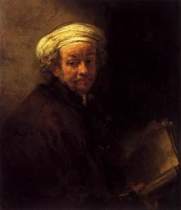 Rembrandt with turban holding a scroll, in chiaroscuro