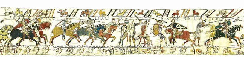 scene of the end of the Battle of Hastings from Bayeux Tapestry