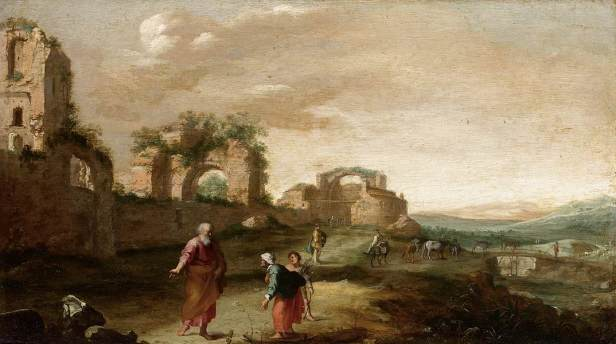 Dutch landscape with Elijah and the widow of Zarephath