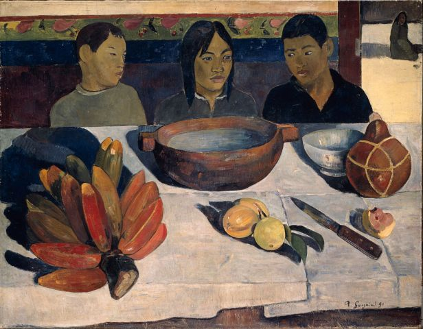 Table scene with three children by Gauguin