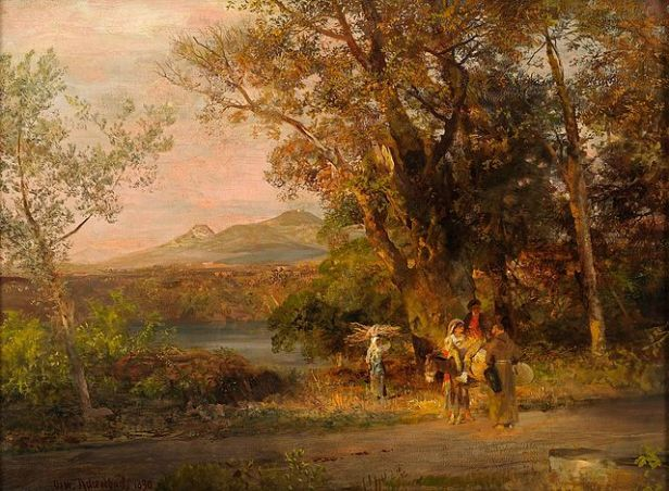 travellers stopping for a conversation by a wooded stream