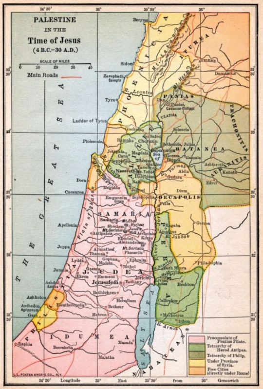 map of Palestine in the 1st century CE showing political divisions
