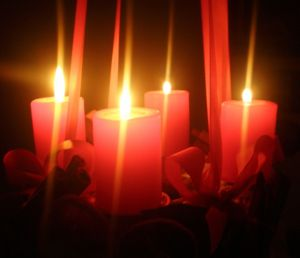four advent candles in advent wreath