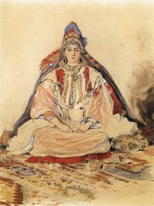 watercolor of Jewish bride in elaborate traditional garb by Eugene Delacroix