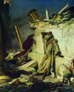 painting - Prophet Jeremiah in ruins of Jerusalem Temple