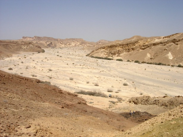 a broad dry wadi in the desert