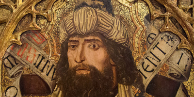 carved and painted image of prophet Micah