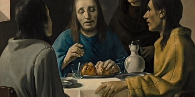 painting of Jesus, two men, a woman at a table with bread